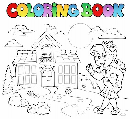 Coloring book school cartoons 8 - vector illustration. Stock Photo - Budget Royalty-Free & Subscription, Code: 400-04911187