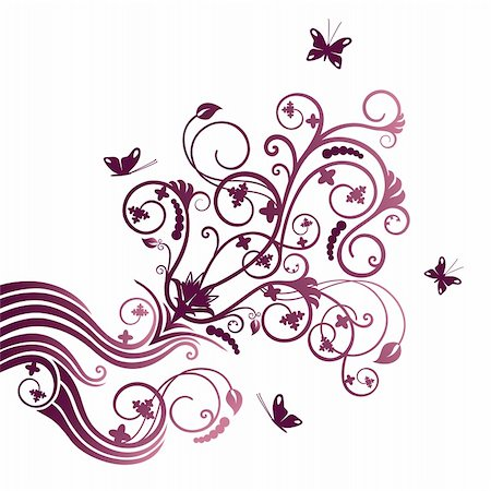 Purple flower and butterfly corner ornament. This image is a vector illustration. Stock Photo - Budget Royalty-Free & Subscription, Code: 400-04912029
