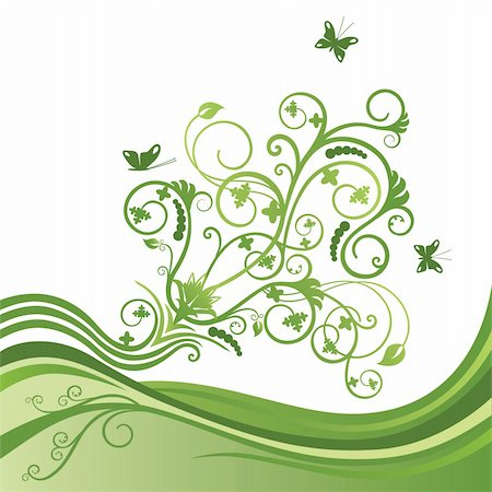 Green elegant flower and butterfly border. This image is a vector illustration. Stock Photo - Budget Royalty-Free & Subscription, Code: 400-04912021