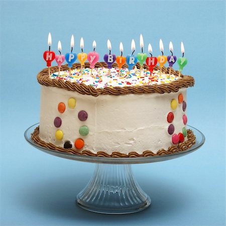 A cake and it's candles that read happy birthday. Stock Photo - Budget Royalty-Free & Subscription, Code: 400-04912041