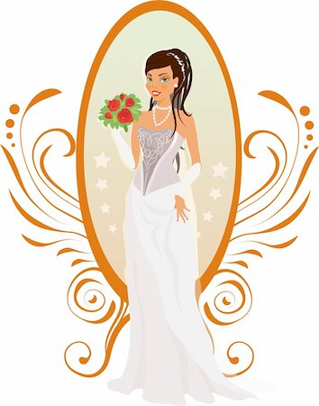 Happy bride with roses and mirror against ornament Stock Photo - Budget Royalty-Free & Subscription, Code: 400-04912472