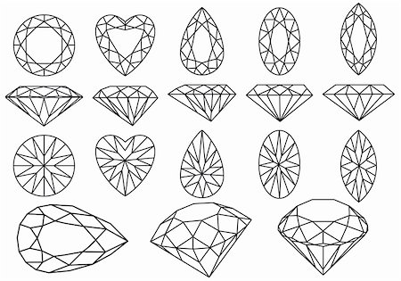 set of diamond gemstone, vector illustration Stock Photo - Budget Royalty-Free & Subscription, Code: 400-04912999