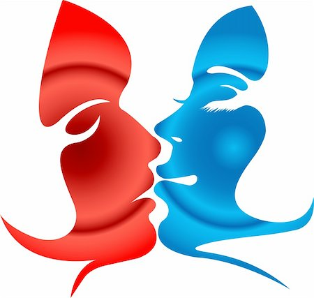 female lips drawing - Illustration art of Man and woman kissing shape with isolated background Stock Photo - Budget Royalty-Free & Subscription, Code: 400-04913008