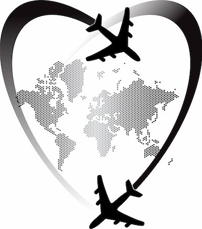 simsearch:400-04863562,k - Illustration art of heart travel world with isolated background Stock Photo - Budget Royalty-Free & Subscription, Code: 400-04913003