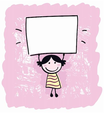 Happy cute little girl holding empty blank banner - cartoon illustration Stock Photo - Budget Royalty-Free & Subscription, Code: 400-04913442