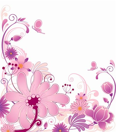 violet floral background  with ornament and flowers Stock Photo - Budget Royalty-Free & Subscription, Code: 400-04924205