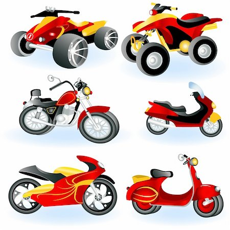 sports scooters - A collection of 6 different motorcycle icons- part 2. Stock Photo - Budget Royalty-Free & Subscription, Code: 400-04924858
