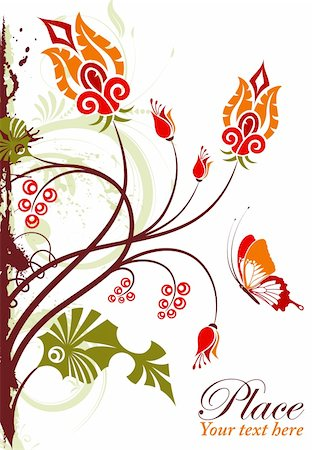 Grunge floral frame with butterfly, element for design, vector illustration Stock Photo - Budget Royalty-Free & Subscription, Code: 400-04925586