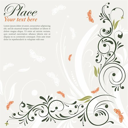 filigree designs in trees and insects - Flower Frame with Butterfly, element for design, vector illustration Stock Photo - Budget Royalty-Free & Subscription, Code: 400-04925587