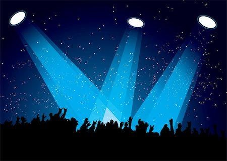 Concert crowd at festival with spotlights night time Stock Photo - Budget Royalty-Free & Subscription, Code: 400-04926288