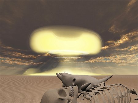 rolffimages (artist) - Skeletal remains and nuclear explosion Stock Photo - Budget Royalty-Free & Subscription, Code: 400-04926357