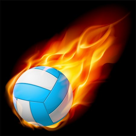 sparks with white background - Realistic Fire volleyball. Illustration on white background Stock Photo - Budget Royalty-Free & Subscription, Code: 400-04920260