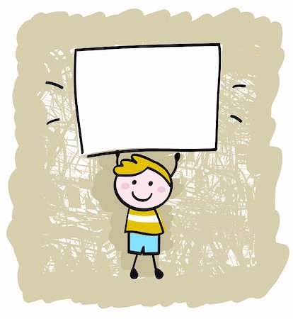 Cute happy boy in retro style holding blank banner sign - vector illustration. Stock Photo - Budget Royalty-Free & Subscription, Code: 400-04921236