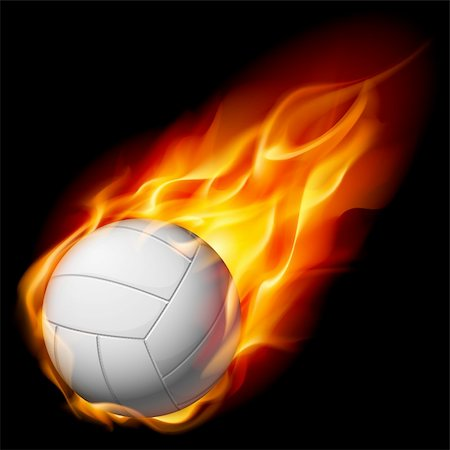 Fire volleyball. Illustration on white background Stock Photo - Budget Royalty-Free & Subscription, Code: 400-04921705