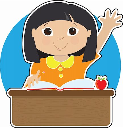 A little Asian girl is raising her hand to answer a question in school - there is a book and an apple on her desk Stock Photo - Budget Royalty-Free & Subscription, Code: 400-04922039