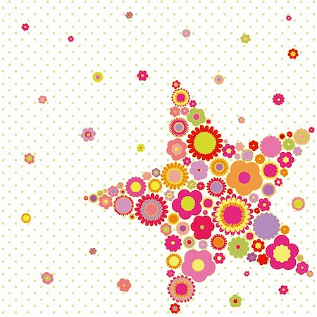 Spring summer colorful flower star shape greeting card on polka dot background Stock Photo - Budget Royalty-Free & Subscription, Code: 400-04922193