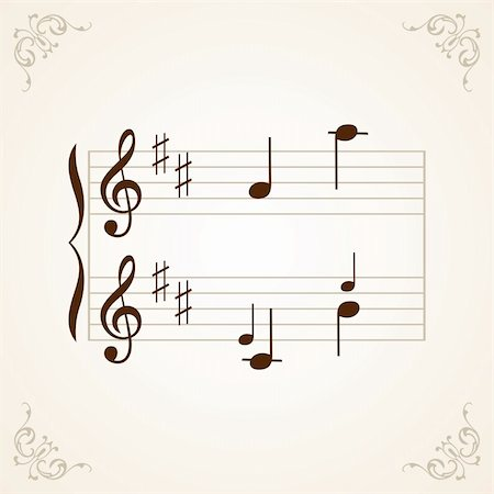 Frame with music notes on light brown background Stock Photo - Budget Royalty-Free & Subscription, Code: 400-04923433