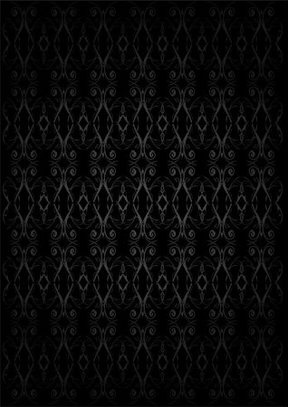 Vintage Wallpaper - Silver Ornaments on Black Background Stock Photo - Budget Royalty-Free & Subscription, Code: 400-04923451