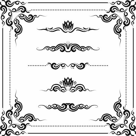 Vector set of decorative horizontal elements, border and frame. Stock Photo - Budget Royalty-Free & Subscription, Code: 400-04923914