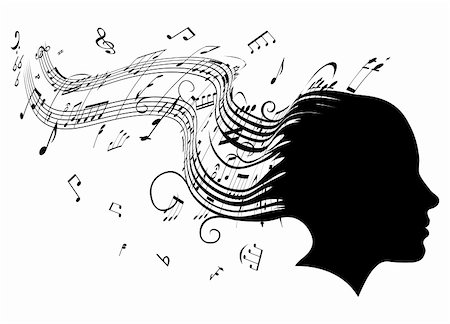 Conceptual illustration of a woman's head in profile with hair turning into sheet music musical notes Stock Photo - Budget Royalty-Free & Subscription, Code: 400-04923996
