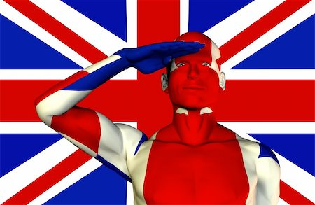 A man with the Union Jack flag on his body its the flag of Great Britain. Stock Photo - Budget Royalty-Free & Subscription, Code: 400-04934819