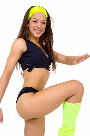 sweaty woman - Fitness shots, with high-knees. Stock Photo - Budget Royalty-Free & Subscription, Code: 400-04936994