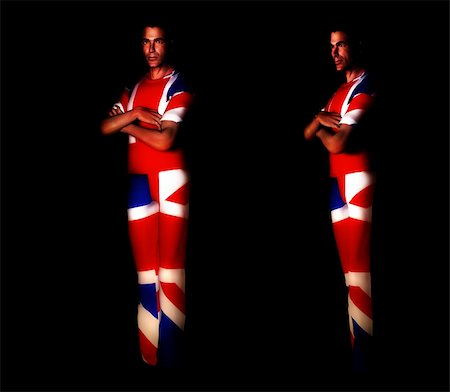 A pair of men with the Union Jack flag on their clothing, its the flag of Great Britain Stock Photo - Budget Royalty-Free & Subscription, Code: 400-04937098