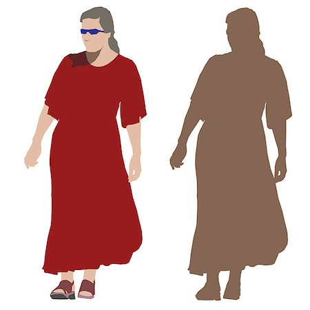 simsearch:400-04096935,k - Young walking woman in long red dress. Vector silhouette Stock Photo - Budget Royalty-Free & Subscription, Code: 400-04938006