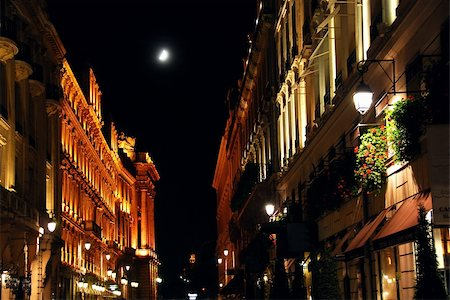 Illuminated street in Paris France with bright moon Stock Photo - Budget Royalty-Free & Subscription, Code: 400-04938944
