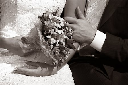 Wedding bouquet in hands of the bride. b/w+sepia Stock Photo - Budget Royalty-Free & Subscription, Code: 400-04939641