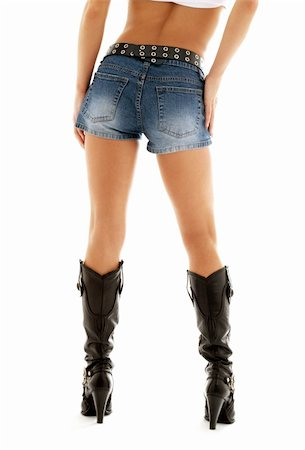 simsearch:400-04096935,k - long legs in cowboy boots and denim shorts over white Stock Photo - Budget Royalty-Free & Subscription, Code: 400-04944055