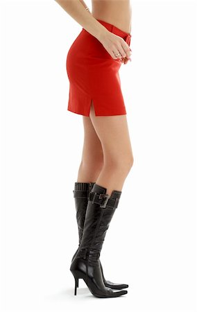 legs and back of lady in red skirt over white Stock Photo - Budget Royalty-Free & Subscription, Code: 400-04948027