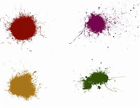 spilling blood texture - 4 Coloured Vector Splats Very Detailed Stock Photo - Budget Royalty-Free & Subscription, Code: 400-04949517