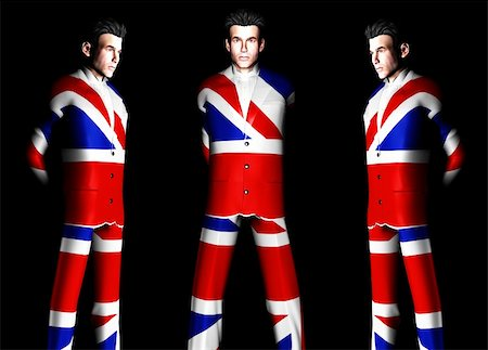A set of men with the Union Jack flag on their clothing, its the flag of Great Britain. Stock Photo - Budget Royalty-Free & Subscription, Code: 400-04941105