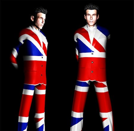 A set of men with the Union Jack flag on their clothing, its the flag of Great Britain Stock Photo - Budget Royalty-Free & Subscription, Code: 400-04941106