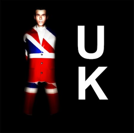 A  man with the Union Jack flag on his clothing, its the flag of Great Britain. Stock Photo - Budget Royalty-Free & Subscription, Code: 400-04941101