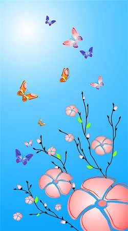 Vector flowers and butterfly background Stock Photo - Budget Royalty-Free & Subscription, Code: 400-04943067