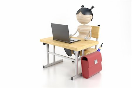 A girl sits at the computer. 3d model Stock Photo - Budget Royalty-Free & Subscription, Code: 400-04955527