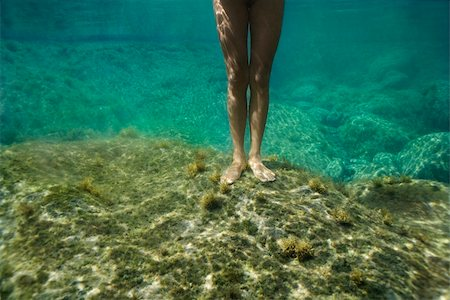 Feet and legs of young Asian nude woman standing underwater. Stock Photo - Budget Royalty-Free & Subscription, Code: 400-04956618