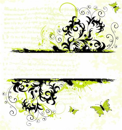 simsearch:400-03995944,k - Grunge paint flower frame with butterfly, element for design, vector illustration Stock Photo - Budget Royalty-Free & Subscription, Code: 400-04958224