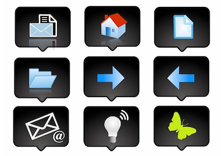 computer icons set  over the black background - digitaly generated Stock Photo - Budget Royalty-Free & Subscription, Code: 400-04959504