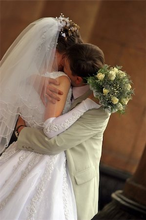 Newly-married couple kiss Stock Photo - Budget Royalty-Free & Subscription, Code: 400-04952254