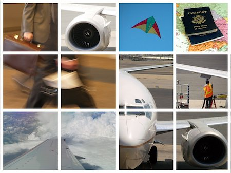 Montage of Business travel - airplanes and flying theme Stock Photo - Budget Royalty-Free & Subscription, Code: 400-04952557