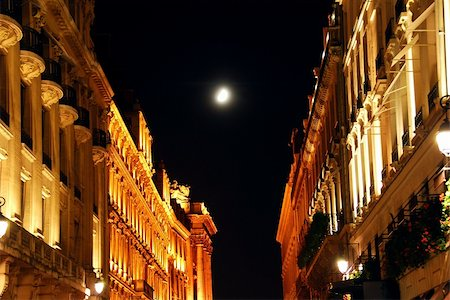 Illuminated street in Paris France at night with bright moon Stock Photo - Budget Royalty-Free & Subscription, Code: 400-04953446