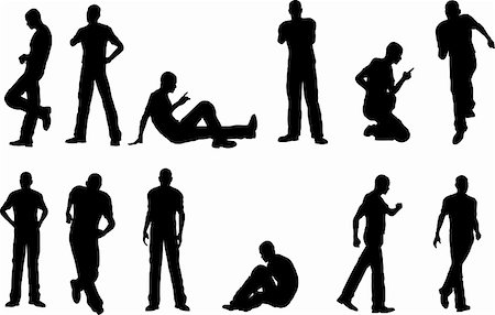 pokerman (artist) - 12 Male Poses - sitting and standing  (vector format) Stock Photo - Budget Royalty-Free & Subscription, Code: 400-04953457