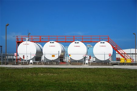 Fuel storage facility with white containers Stock Photo - Budget Royalty-Free & Subscription, Code: 400-04964305