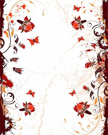simsearch:400-03995944,k - Grunge paint flower background with butterfly, element for design, vector illustration Stock Photo - Budget Royalty-Free & Subscription, Code: 400-04964390