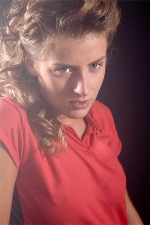sweaty woman - Beautiful blond girl looking tired after the game Stock Photo - Budget Royalty-Free & Subscription, Code: 400-04966519