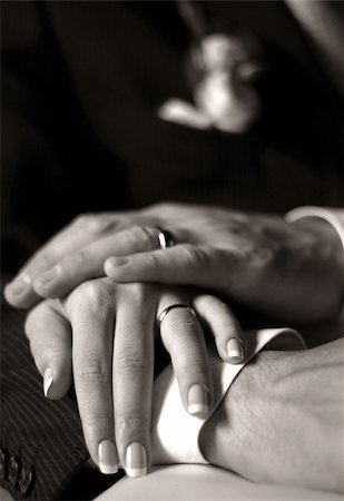 The groom keep the bride for hands. b/w+sepia Stock Photo - Budget Royalty-Free & Subscription, Code: 400-04967769