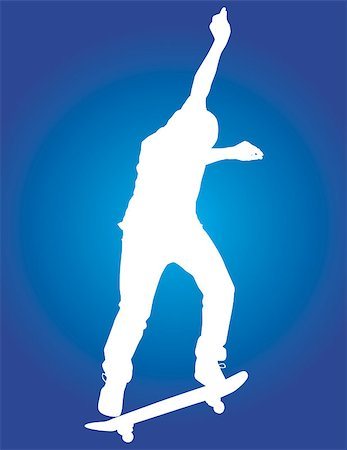 Skater vector silhouette in the midst of a backside 180. Stock Photo - Budget Royalty-Free & Subscription, Code: 400-04975674
